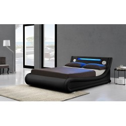 Leather Designer LED Ottoman Storage Bluetooth Bed
