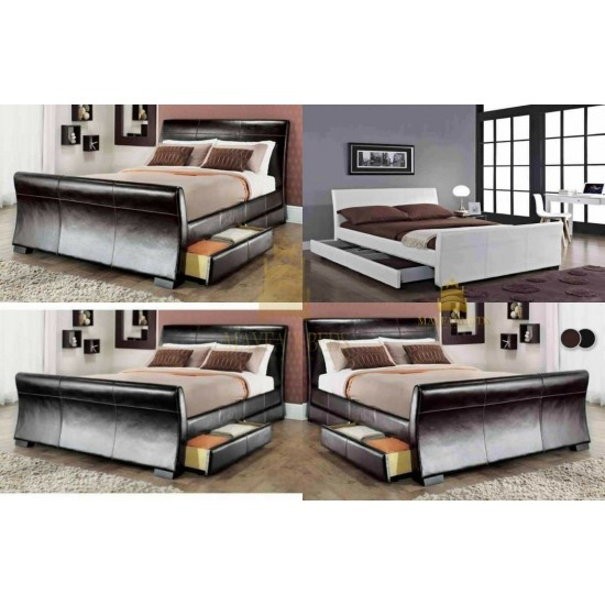 4 DRAWERS LEATHER STORAGE SLEIGH BED