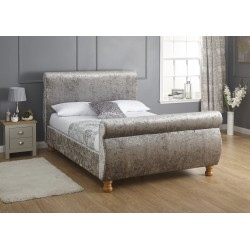 CHICAGO CRUSHED VELVET SLIEGH BEDSTEAD