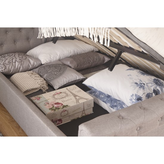 Charcoal Grey Layla Ottoman Hopsack Fabric Storage Bed King Size
