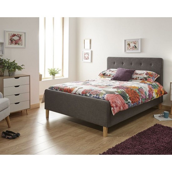Upholstered Grey Hopsack Fabric Ottoman Storage Bed Frame