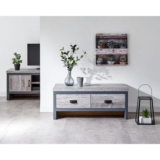 BOSTON 1 Drawer Lamp Table Grey