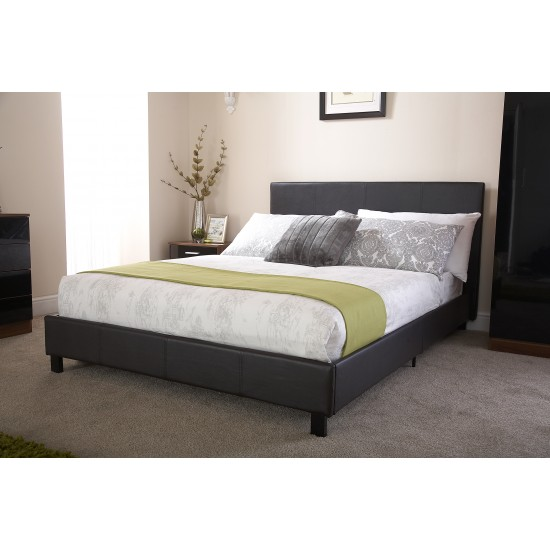 Faux Leather Bedstead Single Black