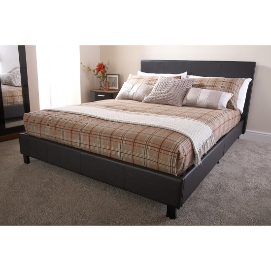 Faux Leather Bedstead Single Brown