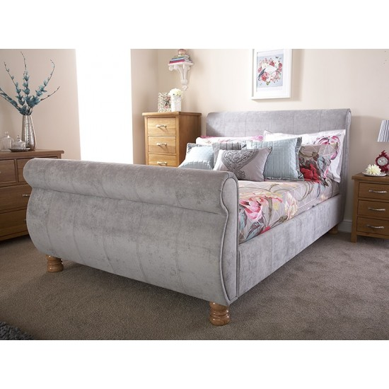 Chicago Fabric Sleigh Bedstead Double