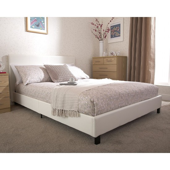 Faux Leather Bedstead Small Double White