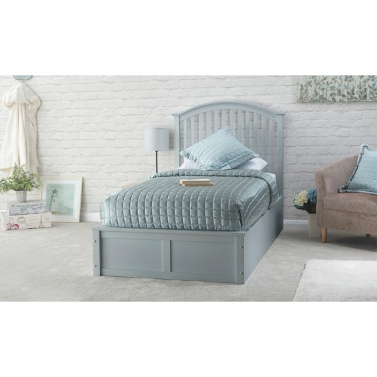 Grey Solid Wood Storage Single Bed