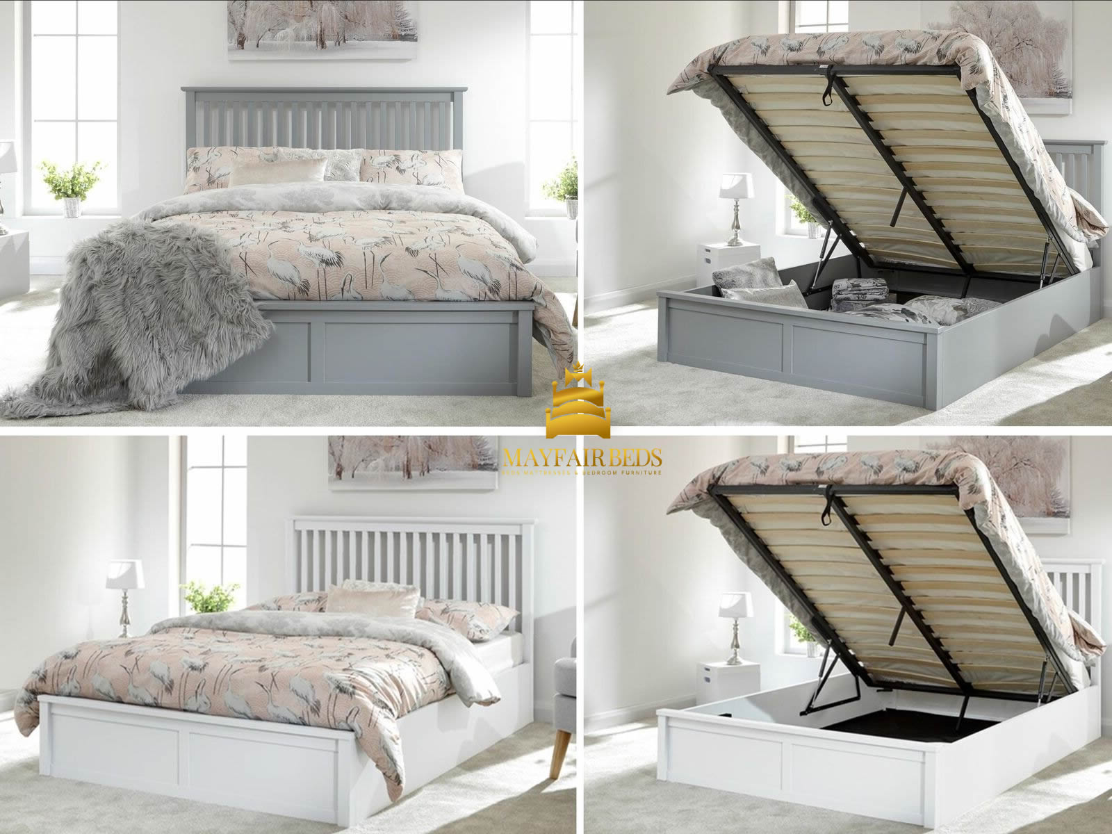 Picture of: Como Wooden Ottoman Storage Bed White 3ft Single Bed Frames
