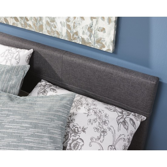 Grey Fabric End Lift Ottoman Storage Single Bedstead