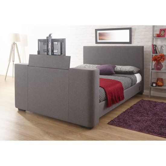 Newark Electric Grey Fabric TV Bed Double