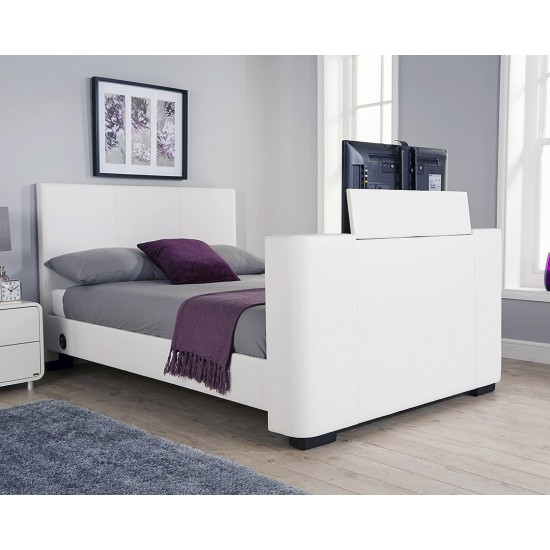 Newark electric TV bed King Size  Bed White