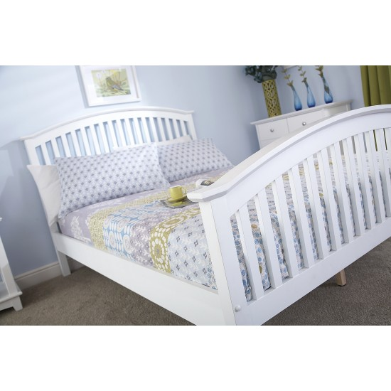 MADRID High Footend Wooden Bedstead Single White