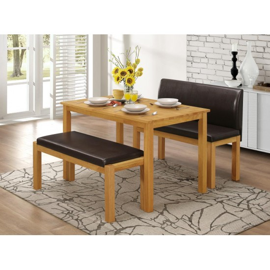 Hamra Dining Set with 2 Benches Natural Oak