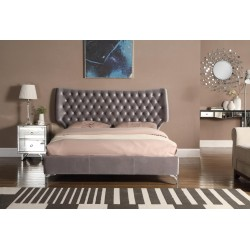 Wing Grey Velvet Bed Frame Only