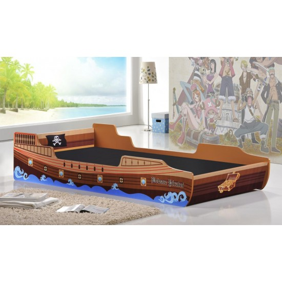 Kids Caribbean Pirate Ship Bed Single