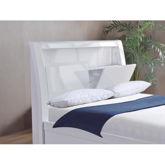 Tanya high Gloss LED Storage Bed Double, King Size