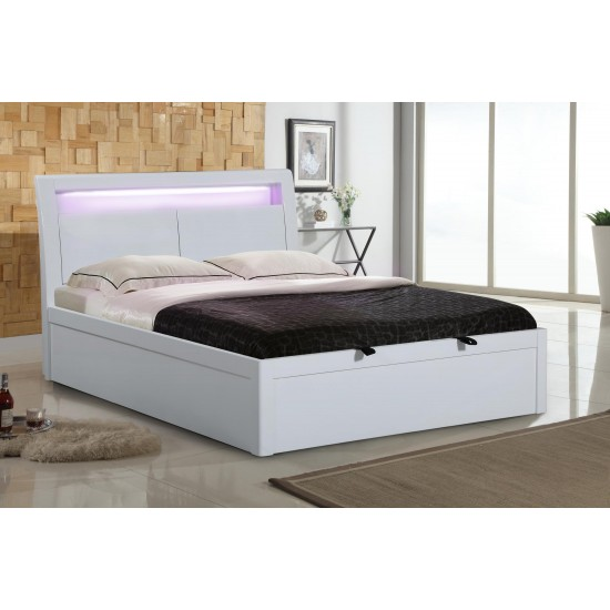 innovative design 51e5c b18ac Tanya high Gloss LED Storage Bed Double, King Size