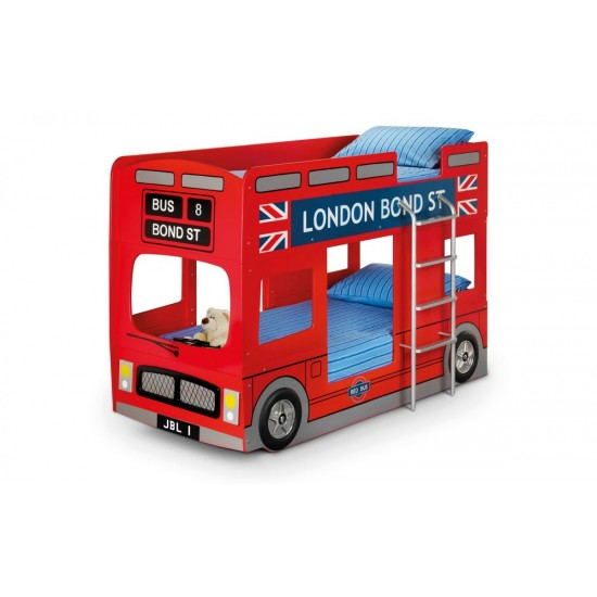 Kids London Bus 3ft Single Bunk Bed Frame