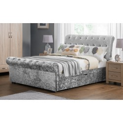 Scroll Silver ice Crushed Velvet Drawer King Storage Bed