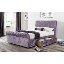 Scroll Lilac Crushed Velvet Drawer King Storage Bed