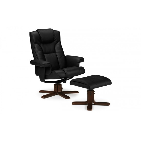 Malmo Black Leather Recliner Chair With Foot Stool