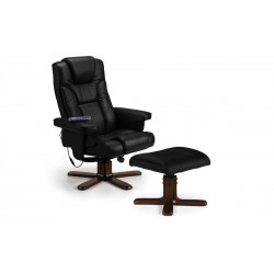 Malmo Black Leather Recliner Massage Chair With Foot Stool