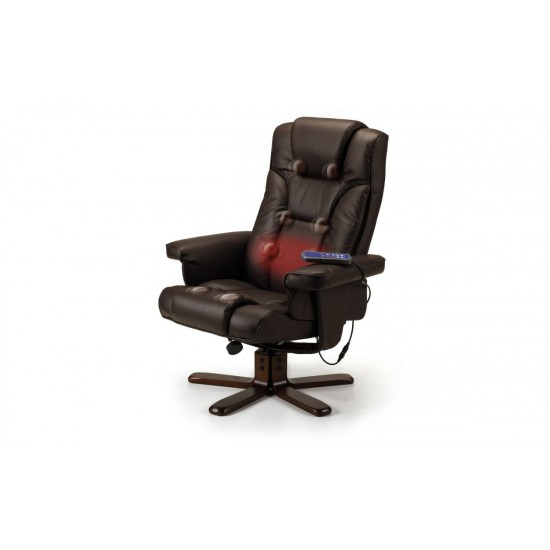 Malmo Brown Leather Massage Recliner Chair With Foot Stool