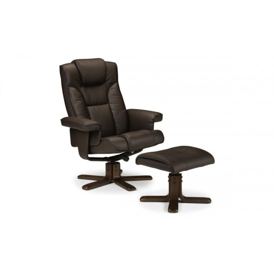 Malmo Brown Leather Recliner Chair With Foot Stool