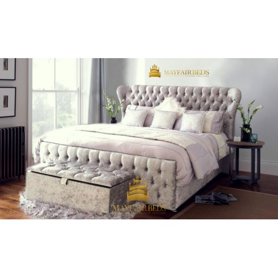 Oxford Wingback end gas lift Ottoman Storage Bed Frame Only