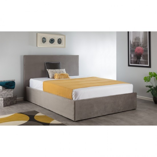 Boston Steel Silver 4ft6 Ottoman Brushed Velvet Bed