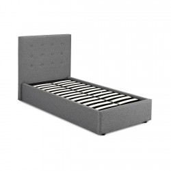 Linen Fabric 3ft Single Grey Storage Bed