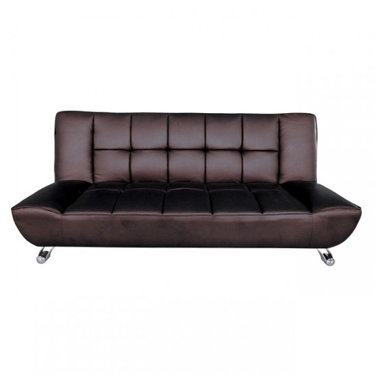 Vogue Sofa Bed BROWN FAUX LEATHER