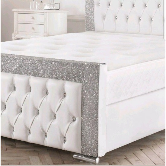 Glitter Fabric & Faux Leather Upholstered Bed Frame
