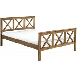 """Salvador 4'6"""" Double Bed High Foot End in Distressed Waxed Pine"""