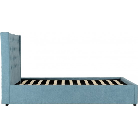 "Camden Plus 4'6"" Storage Bed Blue Fabric"